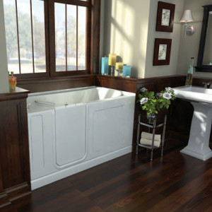 A beautiful walk in tub just installed in a house, paid by mediacare.